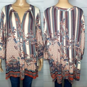 Rose & Olive V-neck Multi Print Tunic Top Size 3x